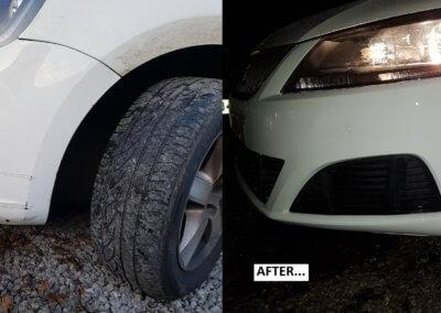 Front bumper scuff white