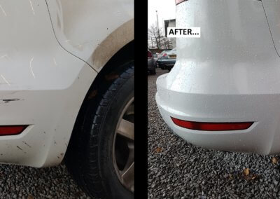 Rear bumper scuff white